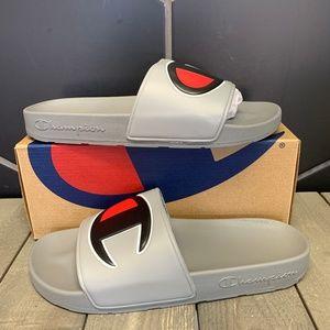 Champion IPO Grey Black Slipper Sandal Slides